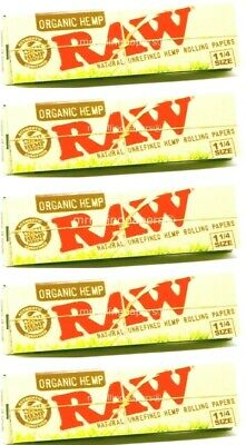5 Packs Raw Organic Hemp Natural Unrefined Rolling Papers 1.25 1 1/4 50 Leaves