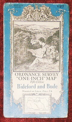 """Ordnance Survey Fifth Edition Linen Backed 1"""":1 Mile Map Of Bideford/Bude - 1936"""