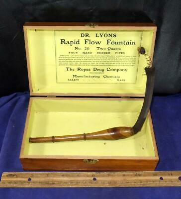 Antique Quack Medical Device Dr Lyons Rapid Flow Fountain Ropes Drug Co. In Box