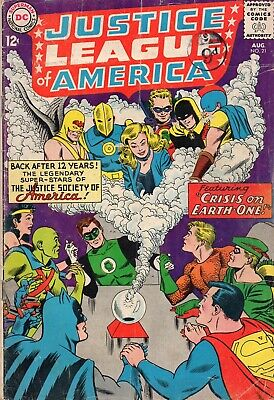 JUSTICE LEAGUE OF AMERICA #21 Justice Society Silver Age DC Comics 1963 G+/VG-