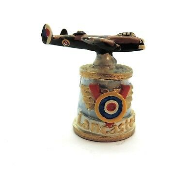 Handcrafted Handpainted Hi-Relief Sf Pewter Lancaster Airplane Thimble Rare