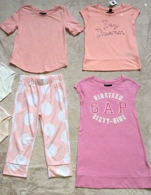 Gap Kids Lot of Tops & Capri Pants Girls Size 7 Lot of 6 Pieces, Pink, Peach NEW