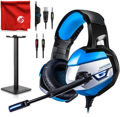 ONIKUMA K5 Blue LED Gaming Headset + Stand for Xbox One, PS4, Nintendo Switch PC