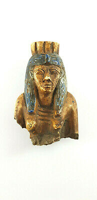 Very Beautiful Egyptian Antiques Queen Sculpture ISIS Hathor Faience Amulet