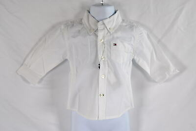 Toddler Boy's Tommy Hilfiger Long Sleeve Classic Shirt in White