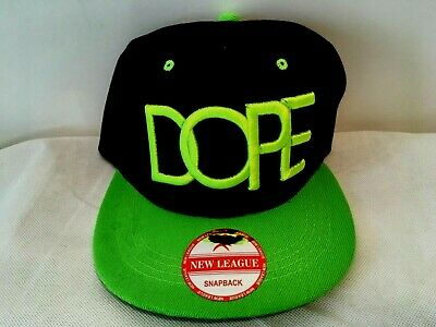 finest selection 4b799 4055b DOPE New League Snapback Cap Neon Green Black Hat Adjustable Baseball Cap  NEW