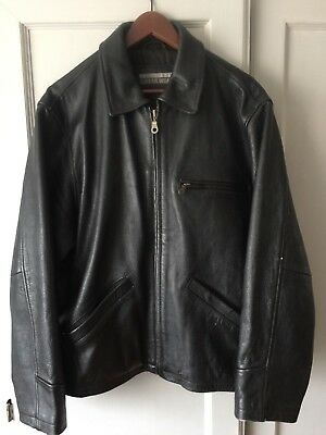 c6be2db52 ROOTS CANADA MENS Black Heavy Cow Leather Cafe Racer Biker Zipped ...