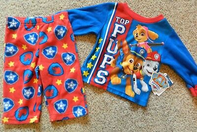 "Paw Patrol ""Top Pups"" 2pc boys size 12 month red & blue pajamas"
