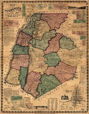 A4 Reprint of American Cities Towns States Map Frederick County Maryland