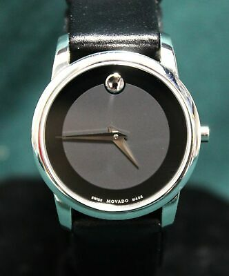 5244e815b Movado 07.3.14.1143 Ladies Museum Stainless Steel Watch Black Leather Band