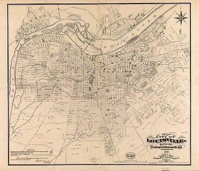 A4 Reprint of American Cities Towns States Map Louisville Kentucky