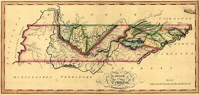 A4 Reprint of American Cities Towns States Map Kentucky Tennessee