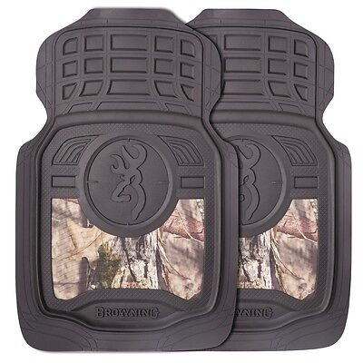Browning Buckmark Mossy Oak Camo Floor Mats,  Pair Auto Truck Car Camouflage
