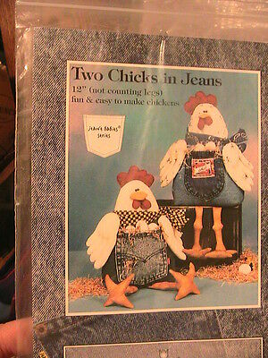 """2 CHICKS IN JEANS~Cotton Ginny's ~WHIMSICAL 12"""" NOVELTY cloth art doll patterns"""