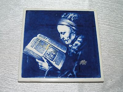 Vintage Blue & White Elderly Lady Woman Reading Book Ceramic Tile Trivet Coaster
