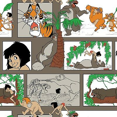 Taupe Disney The Jungle Book Character Block   1.5 yard From Camelot Fabrics