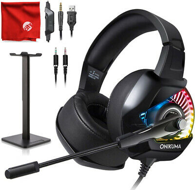 ONIKUMA K6 RGB LED Gaming Headset + Stand for Xbox One, PS4, Nintendo Switch, PC