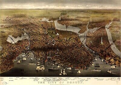 A4 Reprint of Old Maps 1873 Map Of Boston