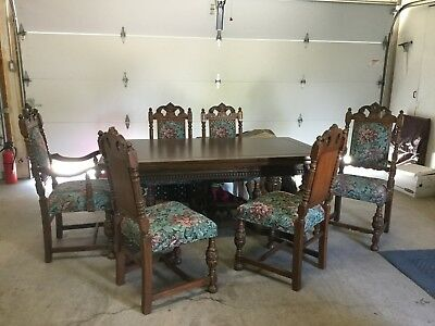 FLAWLESS ANTIQUE Dining RMTable-Oak Jacobean(Extensions)W/Padded Cover+6 Chairs