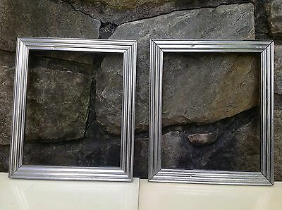 """Vintage MATCHED PAIR Art Deco MACHINE AGE Fluted Aluminum FRAMES Hold 10""""x12"""""""