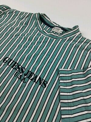 26aade81a587 Vintage Guess Jeans USA Vertical Striped T Shirt Teal Rare Georges Marciano  ASAP
