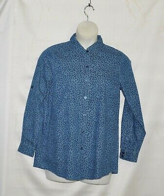 Joan Rivers  Animal Print Button Front Shirt Size S Blue