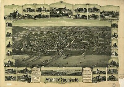 A4 Reprint of American Cities Towns States Map Atlantic Highlands Nj