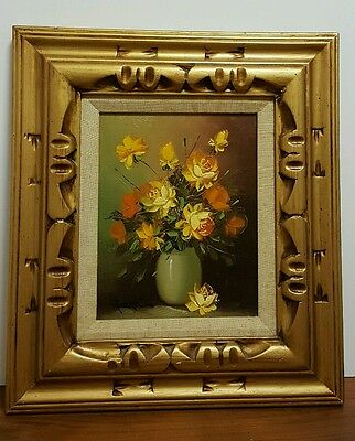 Vintage Floral Oil Painting on Canvas by Robert Cox in Carved Wood Frame w Linen