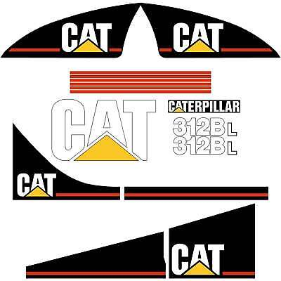 Cat 312b 312bl decals stickers kit laminated repro kit