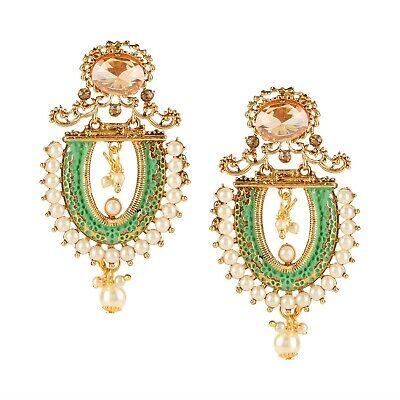 Oxidized Gold Ethnic Tribal Indian Bollywood Crystal Pearl Drop Dangle Earrings