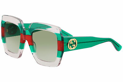 f75bdb63081 Gucci GG0178S GG 0178 S 001 Crystal Transparent Green Red Square Sunglasses