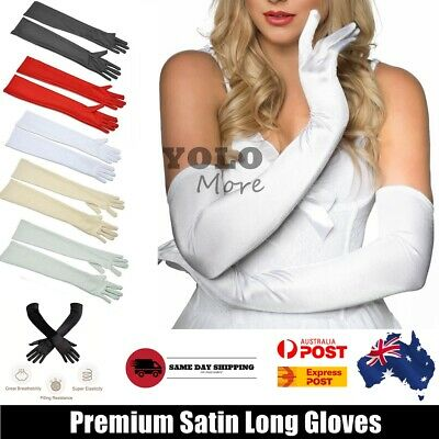 Classic 55cm LONG SATIN GLOVES Opera Costume Bridal Party Prom Wedding Womens
