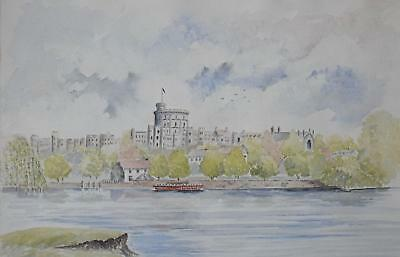 View of Windsor Castle on the River Thames Watercolour V. Mason c1990s