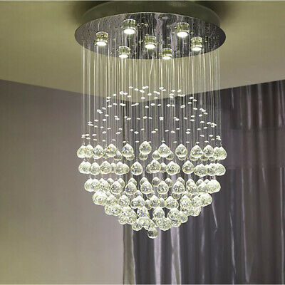 Crystal Chandelier Round Led Double Staircase Living Room Fixture Pendant Light