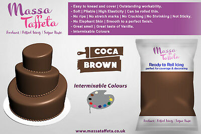 Massa Taffeta Fondant Sugar paste Ready to Rolled Icing Cake Craft | Cocoa Brown