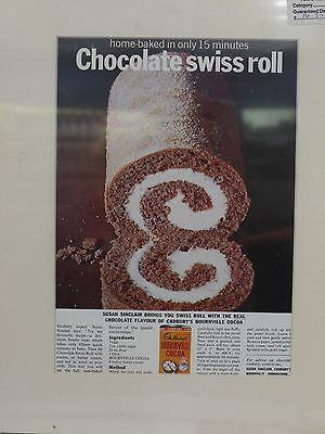 Original 1963 Vintage Advert mounted ready to frame Cadbury Bournville Cocoa
