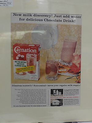 Original 1956 Vintage Mounted Advert ready to framed Carnation Chocolate Drink