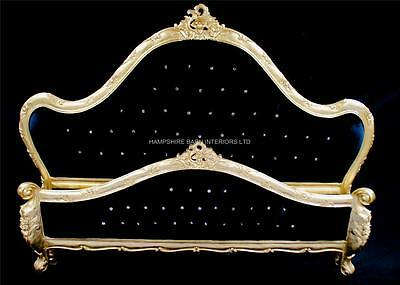 CHARLES French Ornate Louis Gold Bed Crystals Super King 6ft Black Velvet RICH