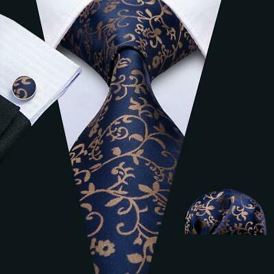 UK Classic Men Ties Necktie Silk Navy Blue Brown Floral Neck Tie Hanky Wedding