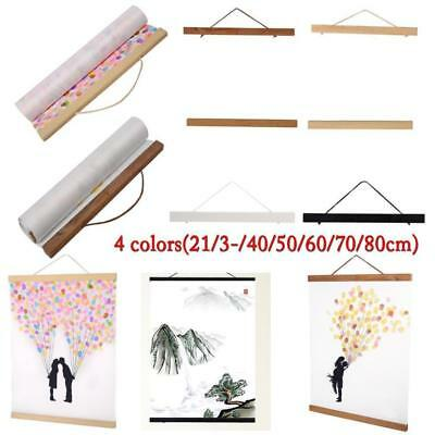 7 sizes DIY Magnetic Wooden Art Photo Hanger Frame Scroll Print Poster Picture