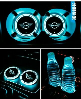 2x LED Car Cup Holder gloss Pad with USB Mini Auto Interior Atmosphere Lights
