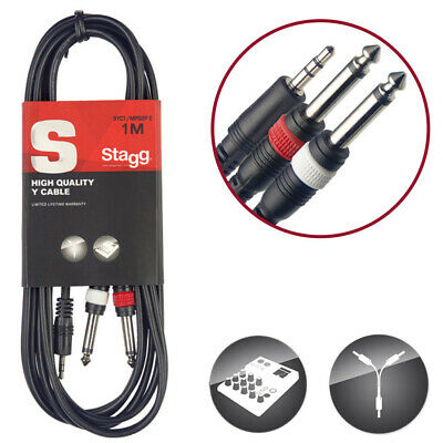 """Stagg S-Series 3.5mm Mini Stereo Jack to 2 x 6.35mm 1/4"""" Jack Mono Male 1m Cable"""