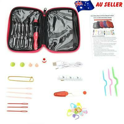 40Pcs/set LED Crochet Hooks Knitting Needles Tools Kit Craft Bag USB Chargeable