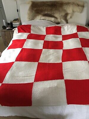 Vintage Patchwork Squares Hand Knitted Blanket White And Red Camper Bedspread