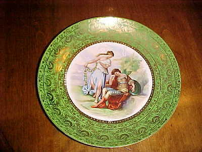 """Antique Carlsbad, Austria Neo Classical Syle 9.75"""" Charger Plate Signed Kaufmann"""