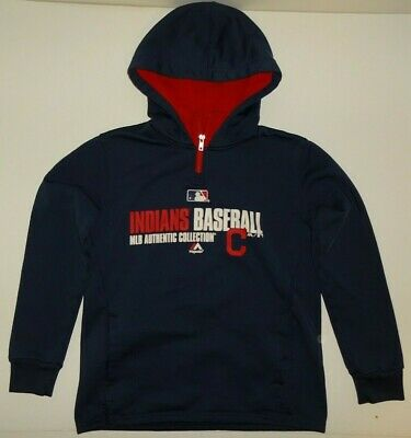 competitive price c1f1a c23f3 CLEVELAND INDIANS GAME Baseball Majestic MLB Authentic Hoodie Sweatshirt  Boys M
