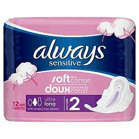 2x Always Sensitive Long Ultra (Size 2) Sanitary Towels Wings 12 pack