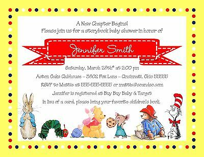 Baby Shower Story Book Characters Invitation Any Colors Boy Girl Neutral
