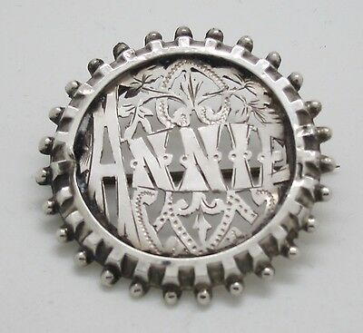Lovely Victorian Silver Annie Name Brooch - 1886