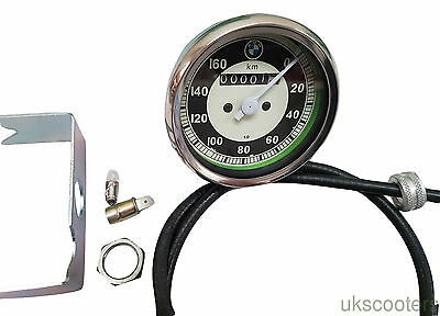ukscooters BMW 0-160 KM MOTORCYCLE SPEEDO REPLICA FIT MANY MODELS SMITHS CABLE